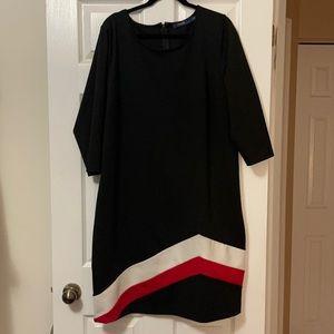 Eloquii Black Shift Dress w/ Red&Wht Design (20W)